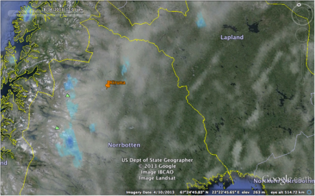 "Predicted cloud cover for midday on 14th August 2013. Data courtesy of the Finnish Meteorological Institute (http://en.ilmatieteenlaitos.fi/). Source: ""Kiruna."" 67°49'28.88""N, 20°20'22.94""E. Google Earth.  April 10, 2013. August 13, 2013."